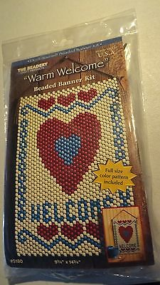 """BEADED BANNER KIT Beadery Craft """"Warm Welcome"""" Hearts 9 1/4"""" X 14 3/4"""" NEW"""
