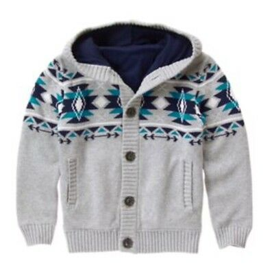 NWT Gymboree Boy Size M 7-8 MOUNTAIN TRAIL Gray Fully Lined Sweater Hoodie NEW