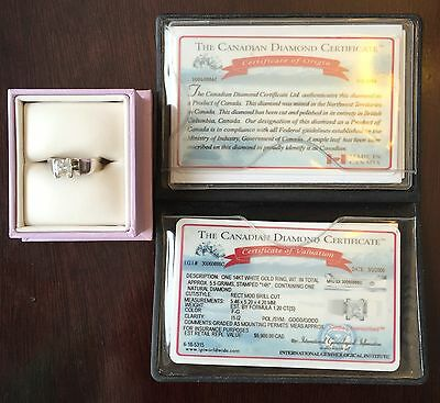 14K White Gold Canadian Diamond Ring 1.20 CT I1-I2 Clarity With All Paperwork