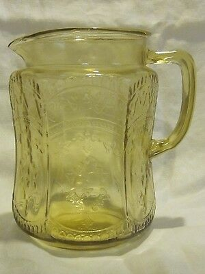 "Federal Glass Patrician Spoke Amber 8"" Pitcher"