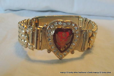 NIOB Vintage United States Army Sweetheart Red Heart Expandable Bracelet NOS!