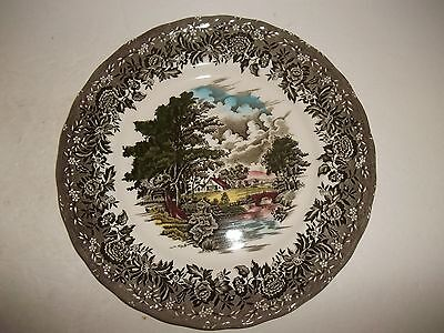 "Vintage Brown Multi Color W H Grindley England Country Style 10"" Dinner Plate"