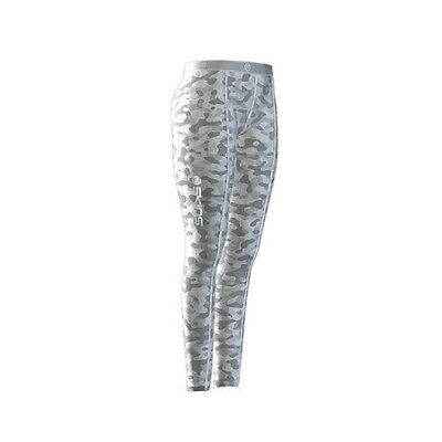 Skins Snow Women's Long Compression Tights White Camo/Silver Large