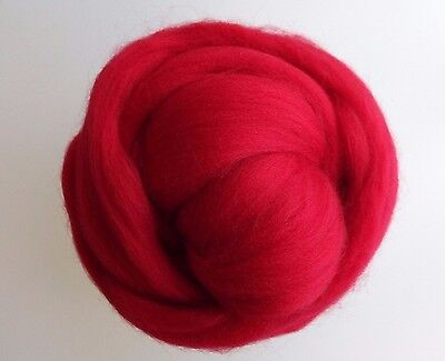 Red Scarlet 100% Wool Tops for Felting 50g