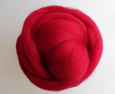 Scarlet Red* 100% Wool Roving Tops for Felting, 50g