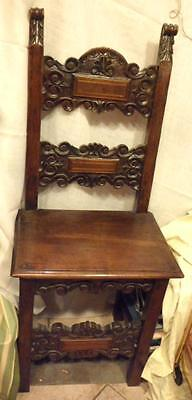 Italian Renaissance revival style solid walnut hand carved chair Florence c 1880