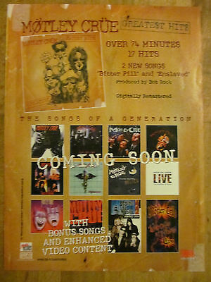 Motley Crue, Greatest Hits, Full Page Vintage Promotional Ad