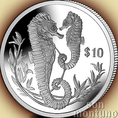 2017 SEAHORSE - Sterling SILVER Proof Coin - British Virgin Islands $10 DOLLAR