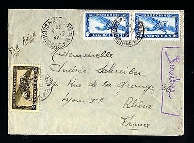 14558-INDOCHINA-AIRMAIL COVER SAIGON to LYON (france)1947.WWII.French.INDOCHINE.