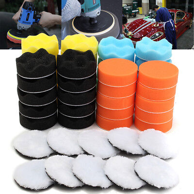 50Pcs 80mm 3'' Inch Colorful Buffing Polishing Sponge Pads Kit For Car Polisher