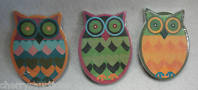 n LOT 3 OWL large EMERY BOARD nail file manicure hand care fun novelty 2 sided