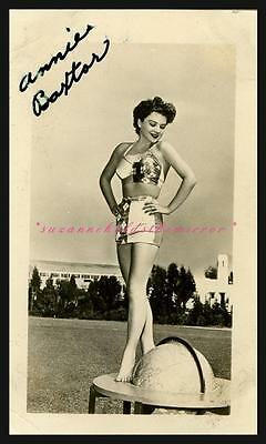 VINTAGE ORIGINAL ANNE BAXTER SEXY 40s SWIMSUIT ON TOP OF WORLD SIGNED PHOTO