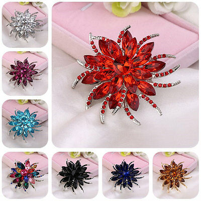 Creative Women Crystal Flower Design Brooch Pin Garment Jewelry Brooch Pin AUO