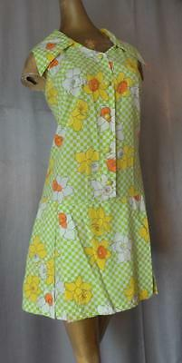 MOD DAFFODIL CHECK Vintage 1960s SKIRTED DROP WAIST SHORTS ROMPER LRG / XL