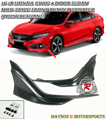 Modulo-Style Front Bumper Lip Splitters (Urethane) Fits 16-17 Civic 2/4dr