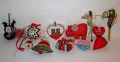 13 Hand-Made Quilted Stuffed Stitched Folk Art Christmas Ornaments Stick Horse
