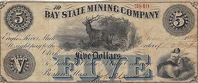 Banknote 1866 Bay State Mining Co $5 United States America, uncommon