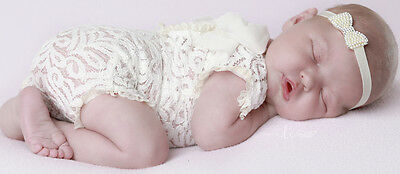 Newborn Baby Girl Ivory Lace Photography Prop with chiffon raggy lace edging