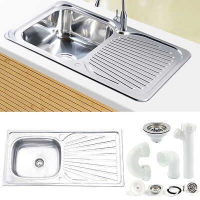 New Single 1 Liter Bowl Stainless Steel Kitchen Sink &Drainer Plumbing Waste Set