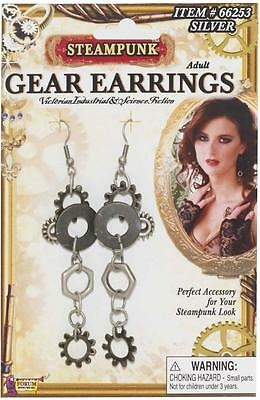 Gear Earrings Steampunk Victorian Fancy Dress Halloween Adult Costume Accessory
