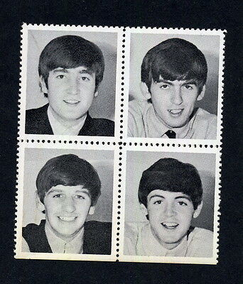 The Beatles 1964 Black & White Photo Stamp Set 4 FAB VINTAGE EXCELLENT SEE
