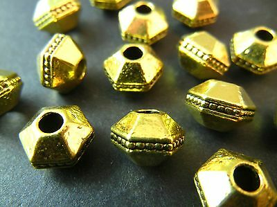 10pc 10mm Gold Premium Tibetan Silver Large Hole Hexagon Spacer Beads T069