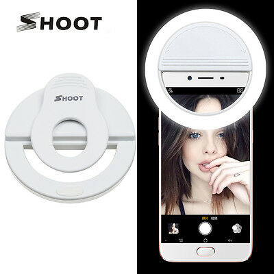 White Portable Selfie Flash Clip Led Ring Fill Light for IPhones Android Phones