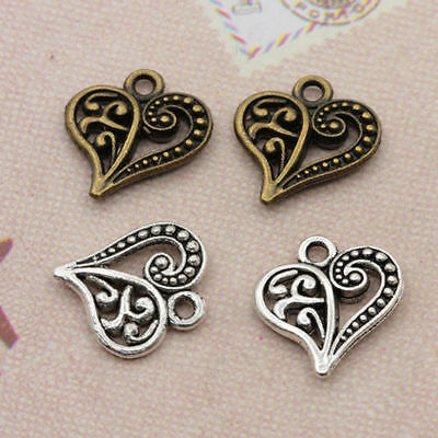 Wholesale 50/100pcs Hollow Out Heart Retro Charms Pendants DIY Jewelry Findings