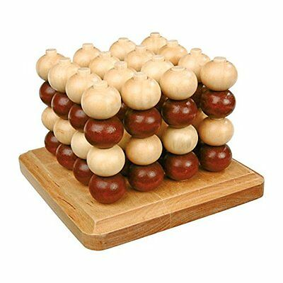 New Traditional Wooden 3D Tic Tac Toe Connect Four In A Row Wood Beads Legler