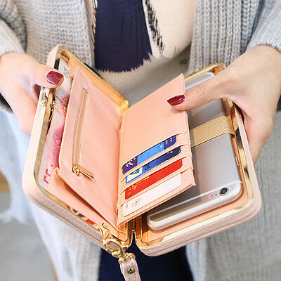 Women Lady Fashion PU Leather Wallet Button Clutch Purse Lady Long Handbag Bag n