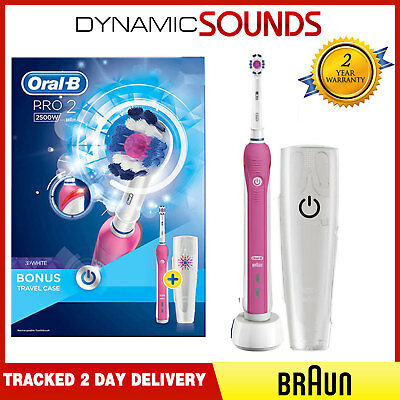 Braun Oral-B PRO2500 PINK Electric Rechargeable Toothbrush & Travel Case Bundle