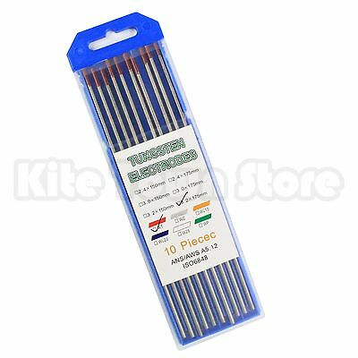 "10-Pack TIG Welding Tungsten Electrodes 2% Thoriated 1/8"" x 7"" 3.2 x 175 WT20"