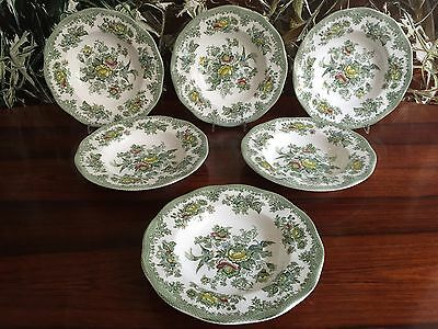 WEDGWOOD England ASIATIC PHEASANTS in green - 6 Soup bowl / Pasta plate Ø 22cm