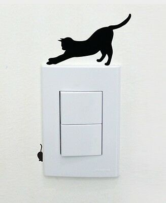 Black Cat And Mouse Shaped Light Switch Wall Decal Two Part Sticker D