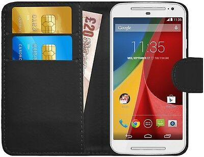 G-Shield® Luxury Leather Magnetic Flip Wallet Case Cover For Motorola Moto G2