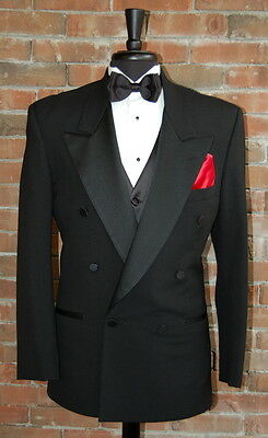 Mens 42 L Classic Black Double Breasted Peak Lapel Tuxedo Jacket