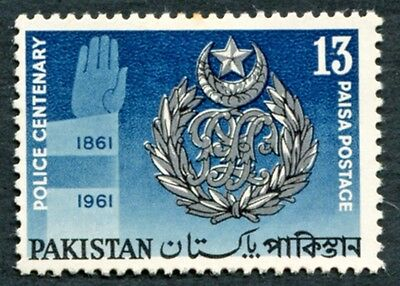 PAKISTAN 1961 13p silver, black and blue SG151 mint MH FG Police Centenary #W3