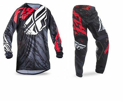 New 2017 Fly Racing Adult Mens Kinetic Relapse Black Red Mx Jersey + Pants Combo