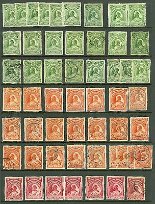 Niger Coast SG 66-74 1887. Mint & used selection on 2 stock cards. ½d x24...