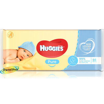 2x Huggies Pure Newborn Baby Soft Natural Wet Wipes For Sensitive Skin 112 Wipes