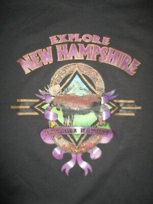 """Vintage EXPLORE NEW HAMPSHIRE """"Live Free or Die"""" (XL) T-Shirt EXTREME NATURE"""