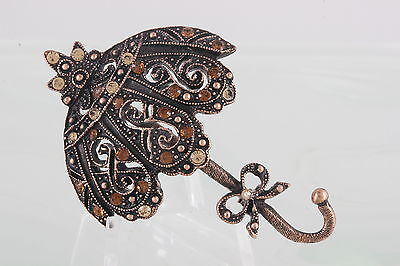 Copper Filigree Vintage Colored Stones Parasol Umbrella Brooch Fashion 9779