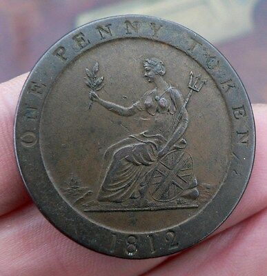 19th Century Sheffield Penny token coin 1812 Hobson & son button manufacturer