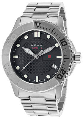 Authentic Gucci Sport Men's G Timeless Stainless Steel Black Dial Watch YA126251