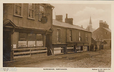 Postcard Northwich Cheshire early Subsidence and Forester's Arms pub RP by Hall