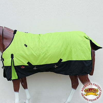 "72"" Hilason 1200D Ripstop Waterproof Turnout Winter Horse Blanket Lime Black"