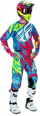 New 2017 Fly Racing Adult Mens Kinetic Relapse Teal Red Mx Jersey + Pants Combo