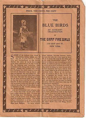 The Blue Birds, Camp Fire Girls, Circa 1914, 4 Pages, Complete, Good Condition