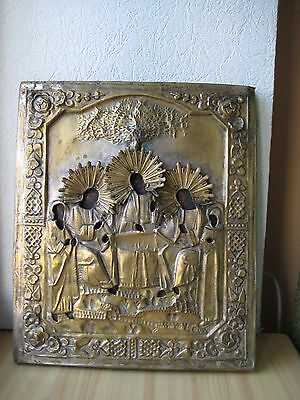 Icona Russa,Antique Russian Orthodox icon,,Holy Trinity,, from 19c.