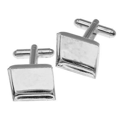 Silver Tone Cuff Links Customizable Square Bezel 17mm (1 Pair)